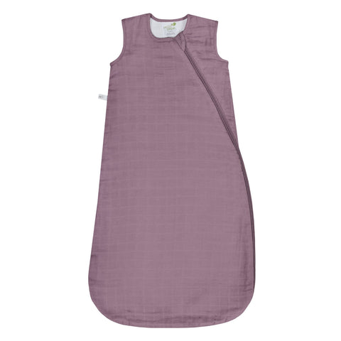 Cotton muslin sleep bag - solid plum (0.7 tog)