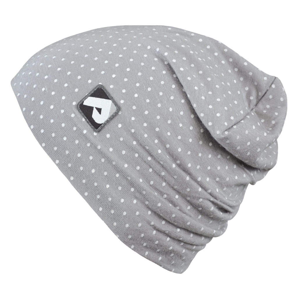 Cotton beanie - gray polka dots