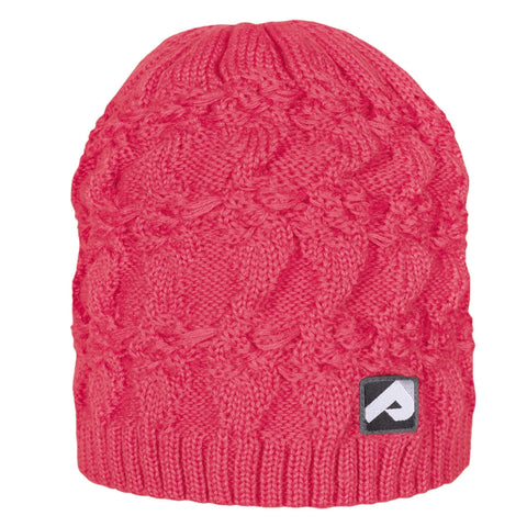 Knitted acrylic hat - coral