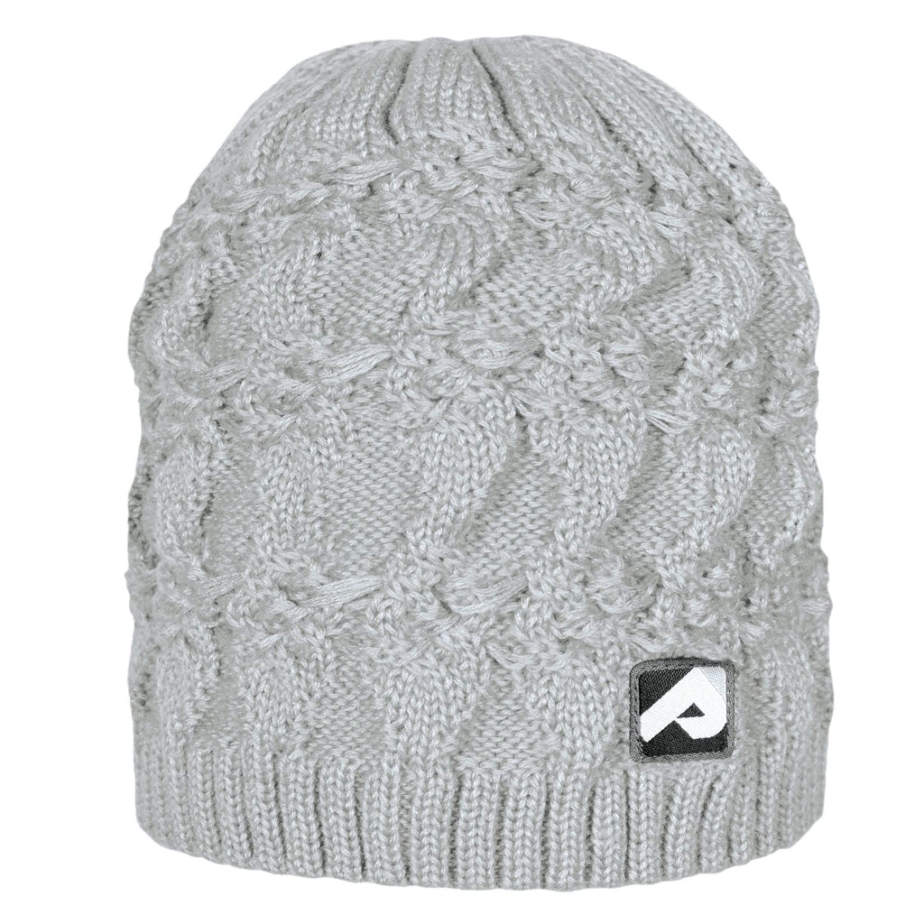 Knitted acrylic hat - light grey