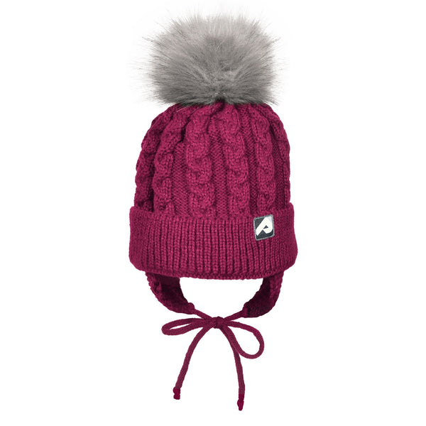Winter hat with removable pompom  - Cassis