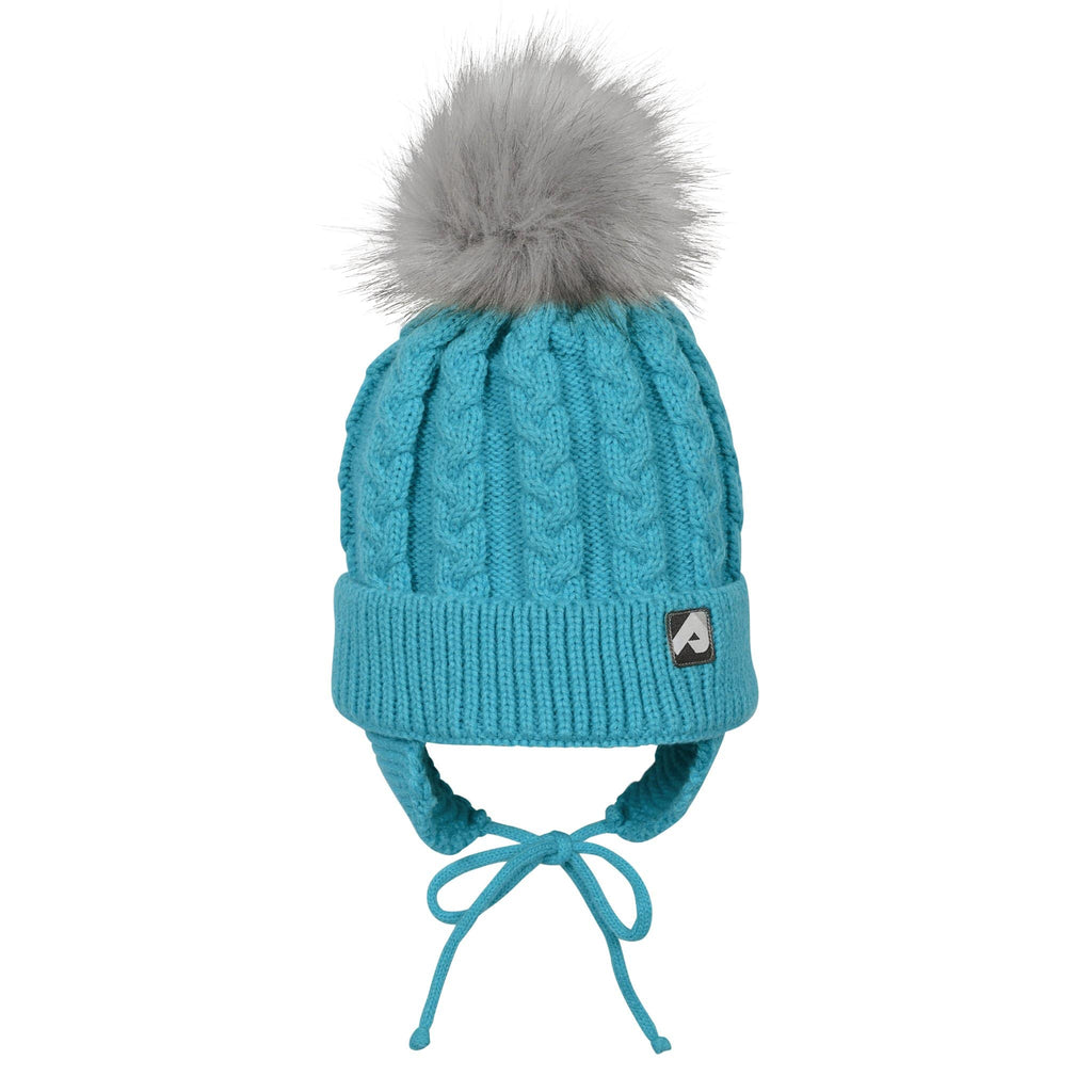 Winter hat with removable pompom  - Emeraude