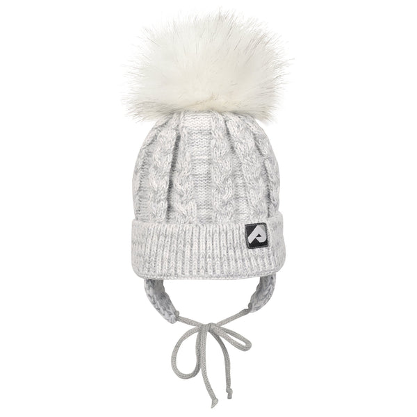Winter hat with removable pompom  - Light grey