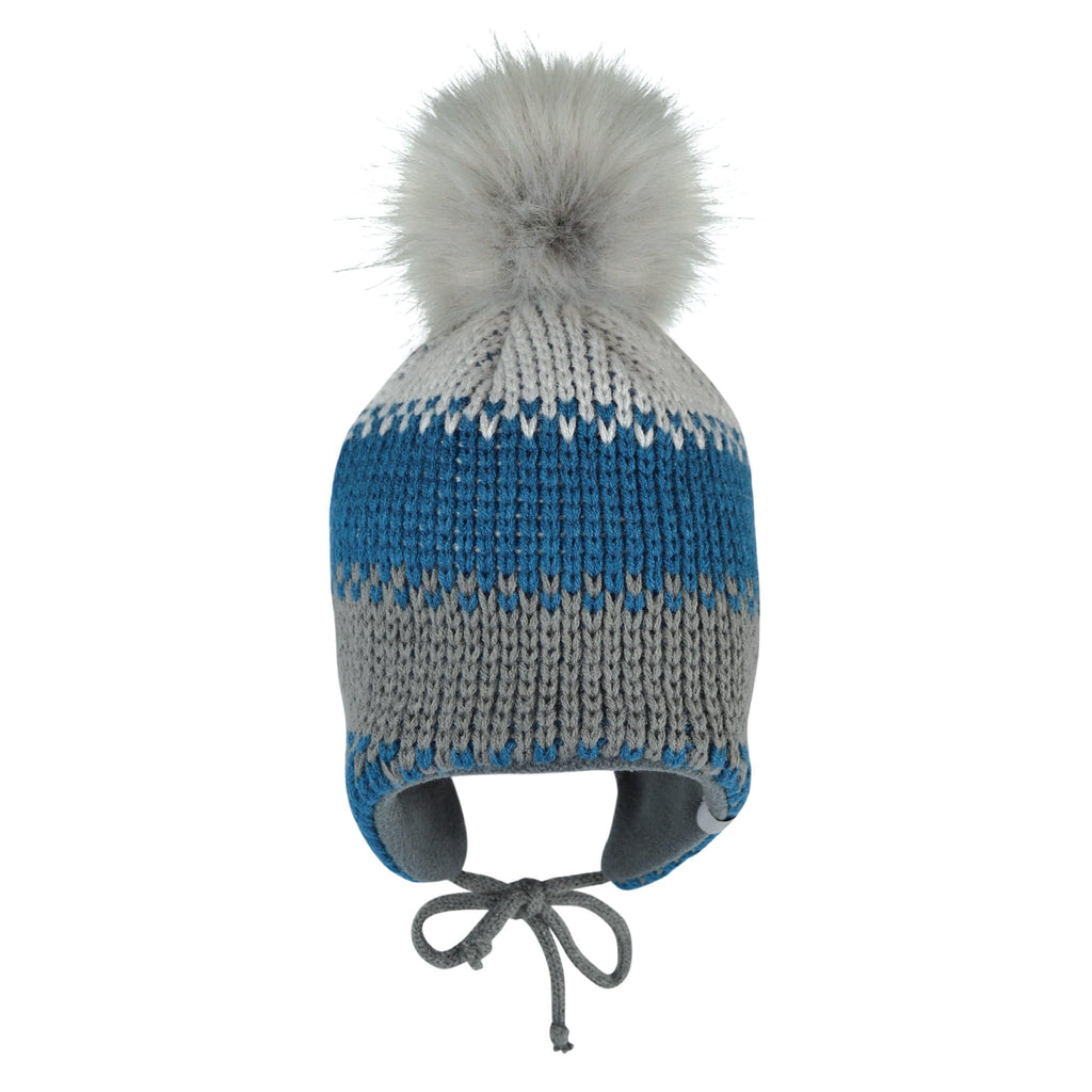 Winter hat with removable pompom - Grey-orage-pearl grey