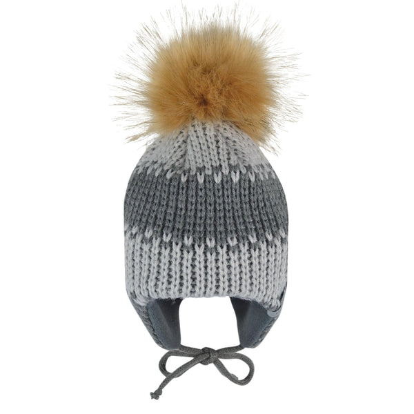 Winter hat with removable pompom - Grey-pearl grey