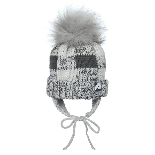 Winter hat with removable pompom - light & dark gray