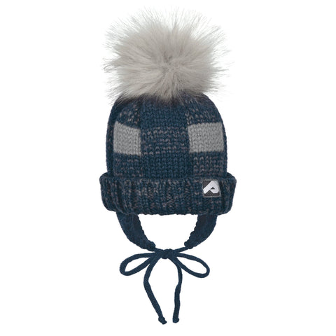 Winter hat with removable pompom - navy & gray