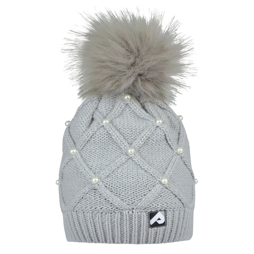 Winter hat with removable pompom - Pearl grey