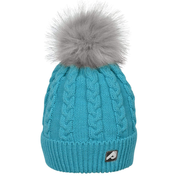Winter hat with removable pompom - emerald