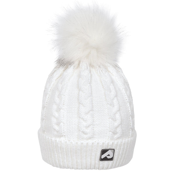 Winter hat with removable pompom - white