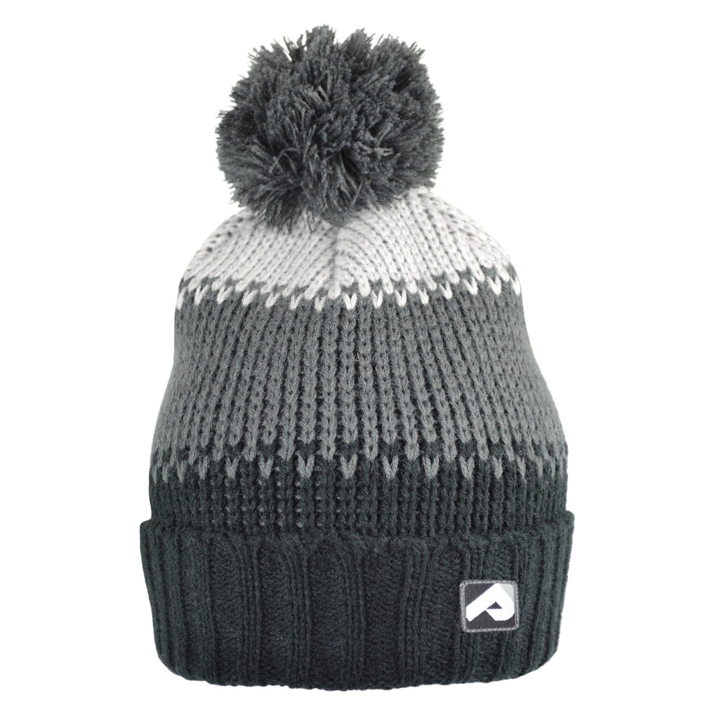 Winter hat with removable pompom - Black-coal-pearl grey