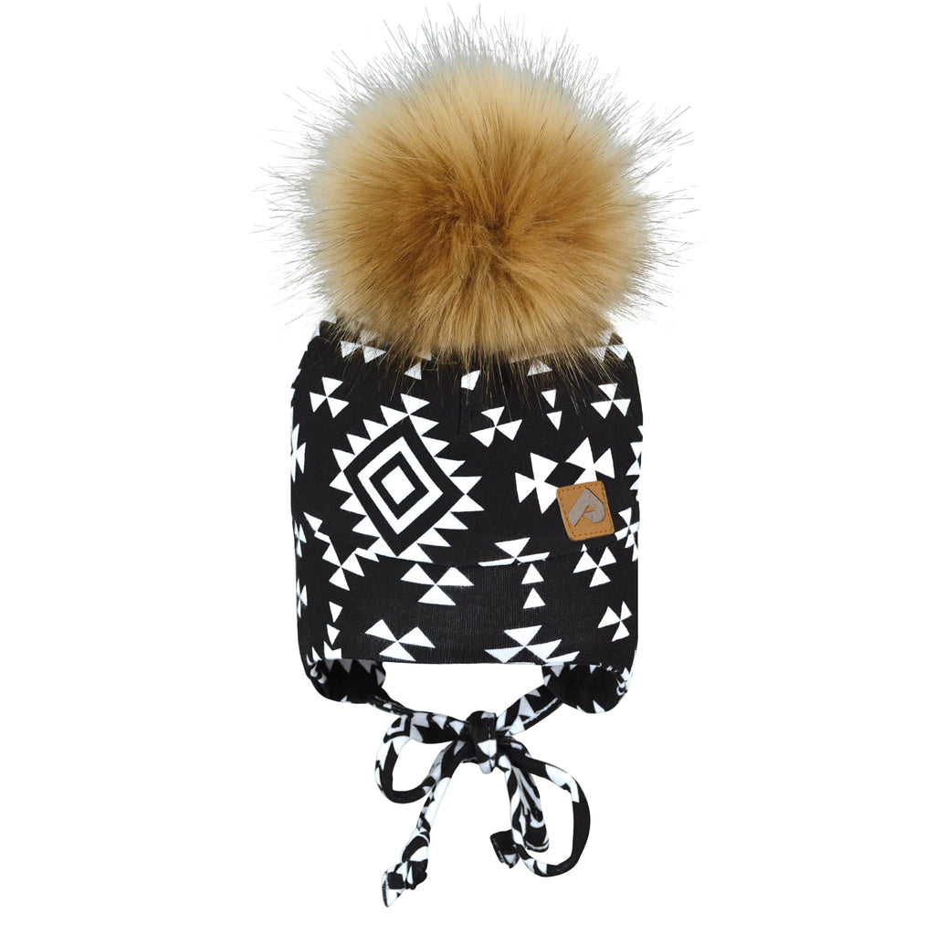 Hat with ear covers and pompom - aztec black & white