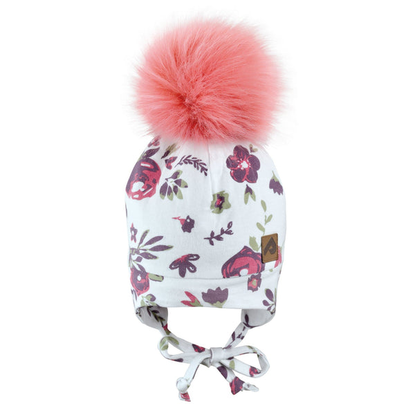 Hat with ear covers and pompom - flowers white