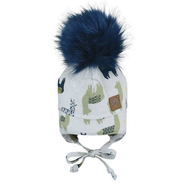 Hat with ear covers and pompom - lamas grey