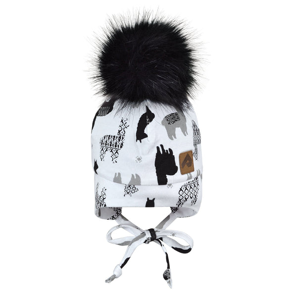 Hat with ear covers and pompom - lamas white
