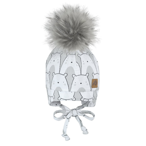 Hat with ear covers and pompom - bears grey