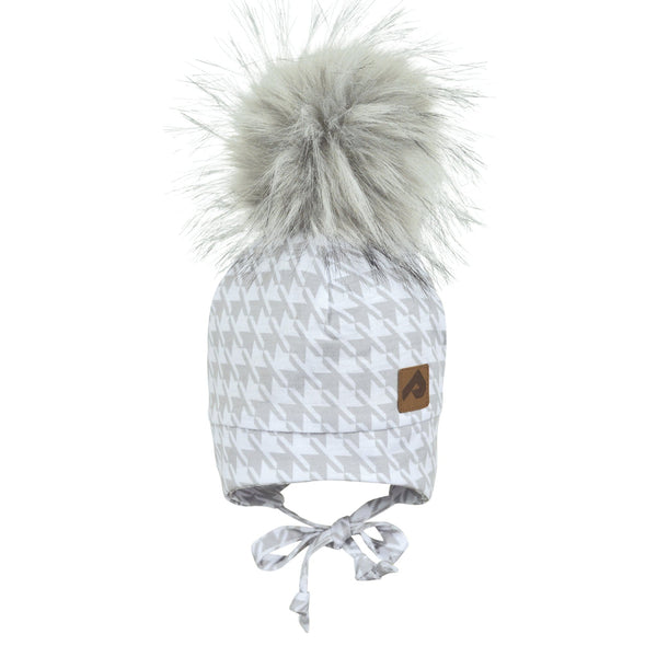 Hat with ear covers and pompom - Gray houndstooth
