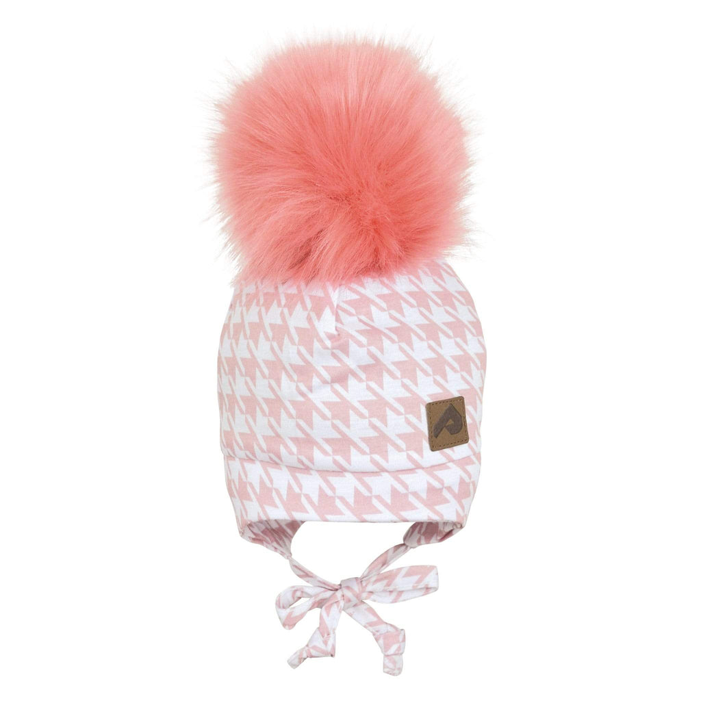 Hat with ear covers and pompom - Pink houndstooth