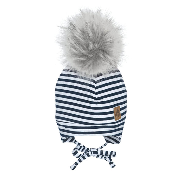 Hat with ear covers and pompom - Navy stripes
