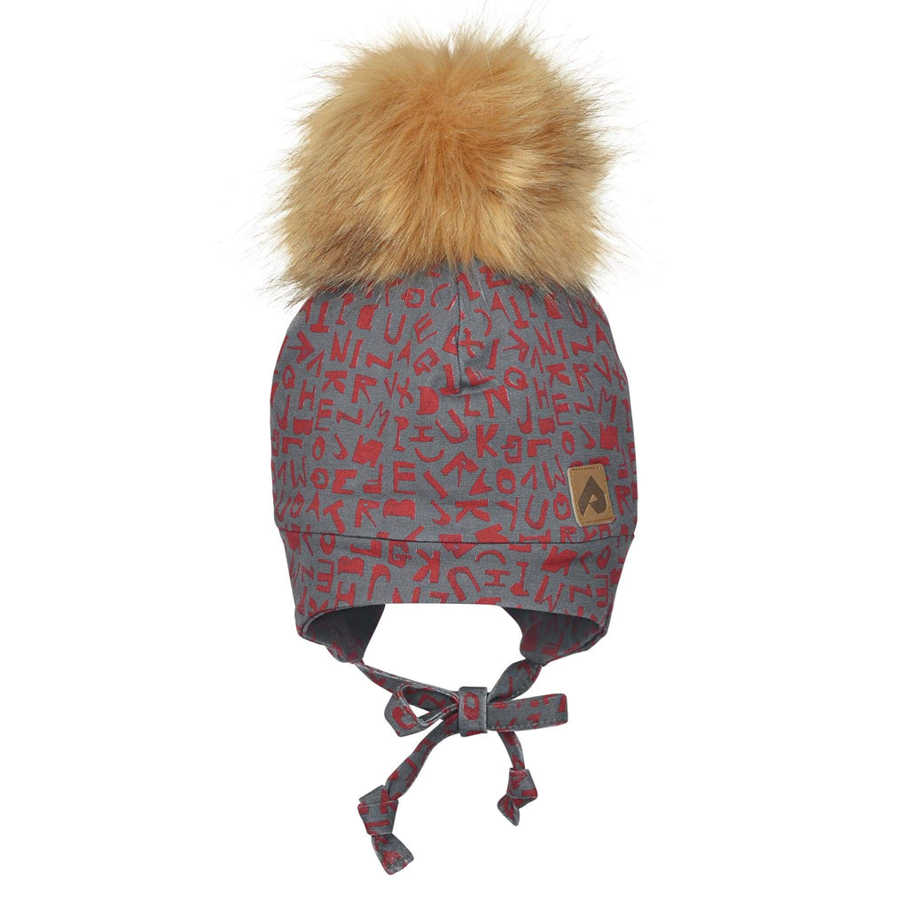 Hat with ear covers and pompom - Red alphabet