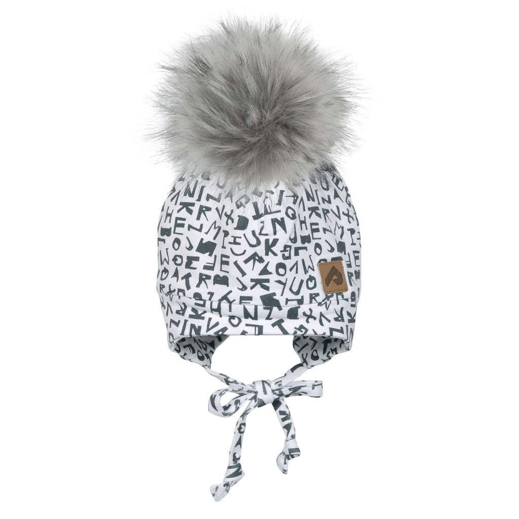 Hat with ear covers and pompom - White alphabet