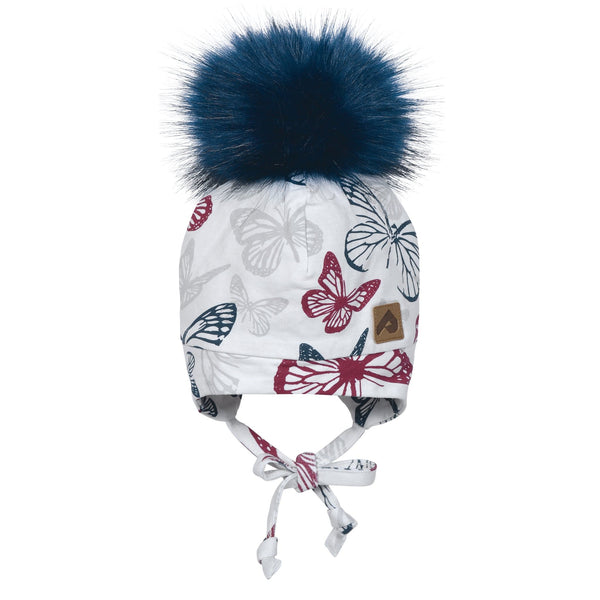 Hat with ear covers and pompom - Raspberry butterfly