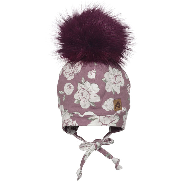 Hat with ear covers and pompom - Plum peony