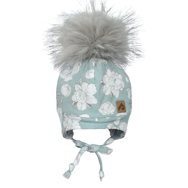 Hat with ear covers and pompom - Blue peony