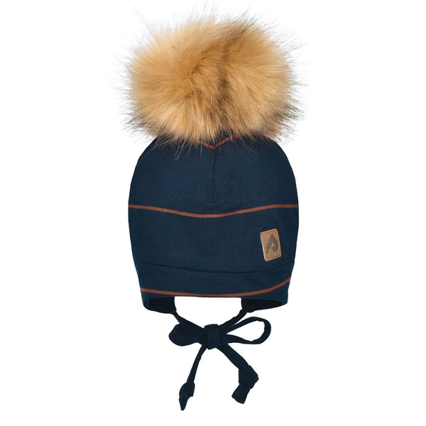 Hat with ear covers and pompom - Navy stripe