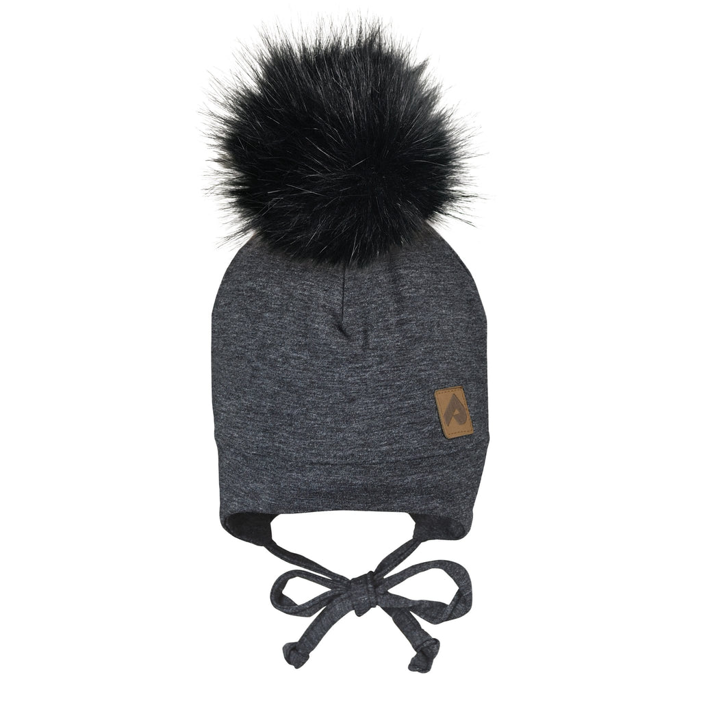 Hat with ear covers and pompom - Black chiné