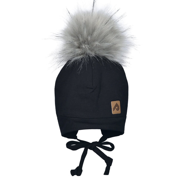 Hat with ear covers and pompom - Black