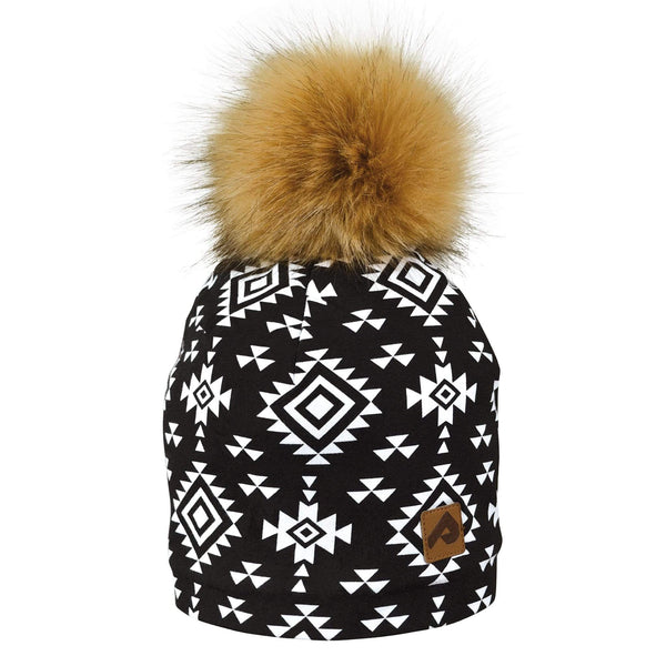 Beanie with pompom - aztec black & white