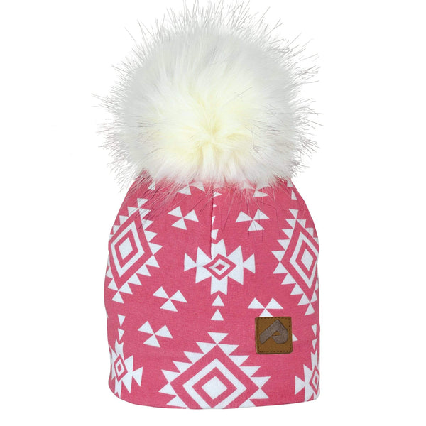 Beanie with pompom - aztec pink & white