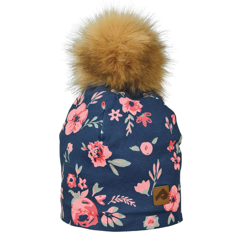 Beanie with pompom - flowers navy