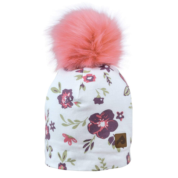 Beanie with pompom - flowers white