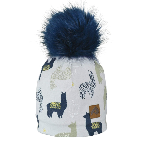 Beanie with pompom - lamas white