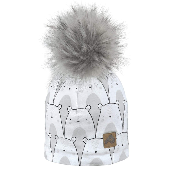 Beanie with pompom - bears grey