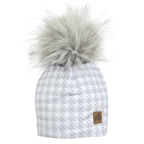 Beanie with pompom - Gray houndstooth
