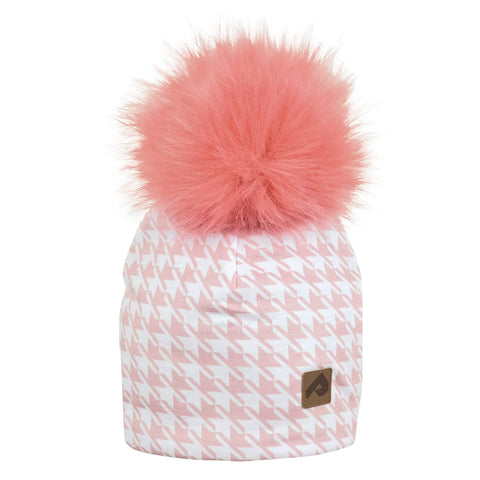 Beanie with pompom - Pink houndstooth