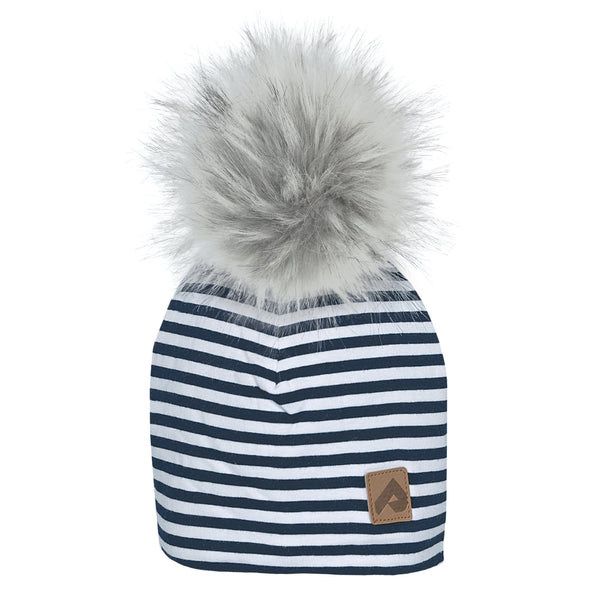 Beanie with pompom - Navy stripes
