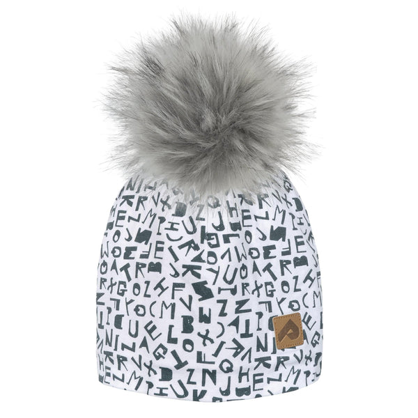 Beanie with pompom - White alphabet