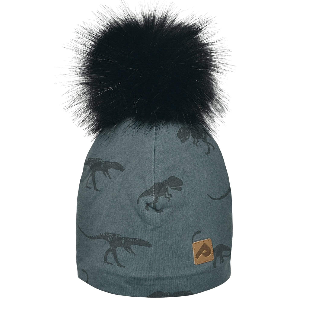 Beanie with pompom - Grey dinos