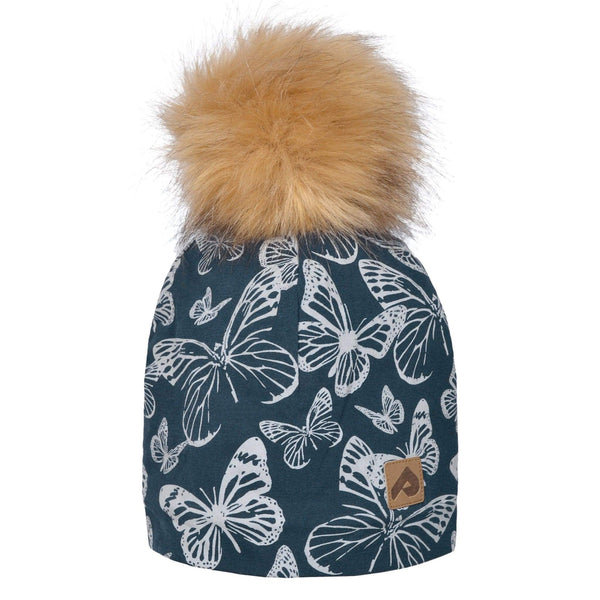 Beanie with pompom - Navy butterfly