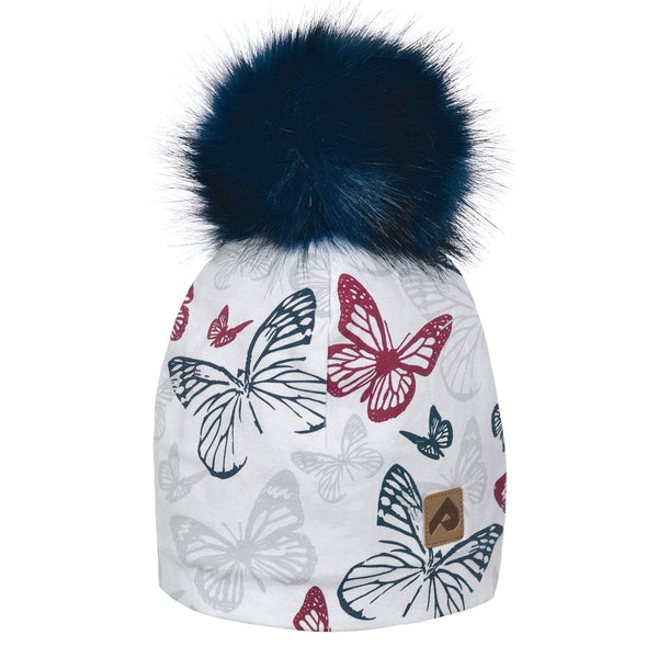 Beanie with pompom - Raspberry butterfly