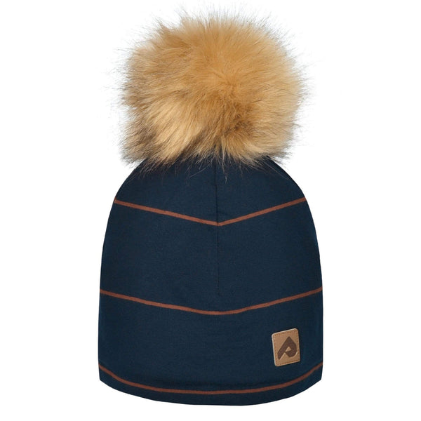 Beanie with pompom - Navy stripe