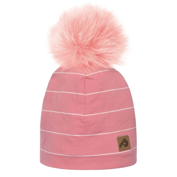Beanie with pompom - Pink stripe