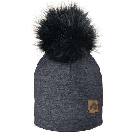 Beanie with pompom - Black chiné
