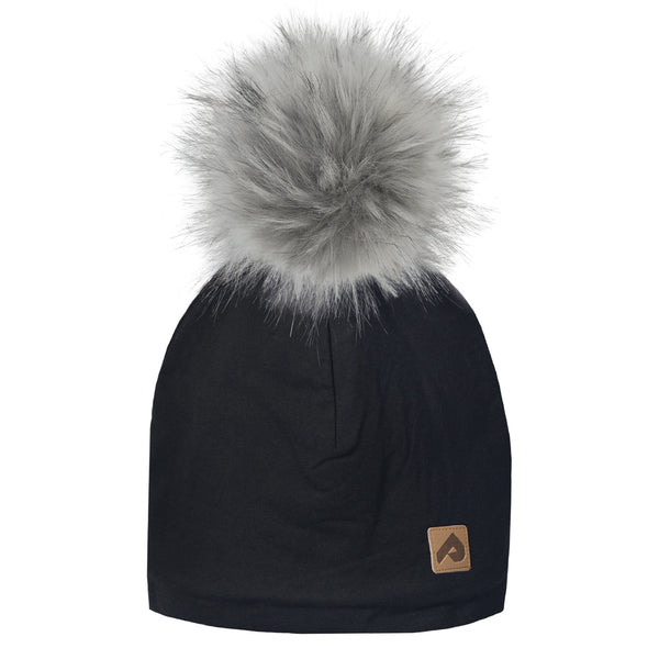 Beanie with pompom - Black