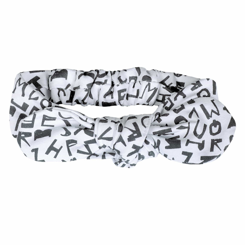 Baby headband - White alphabet