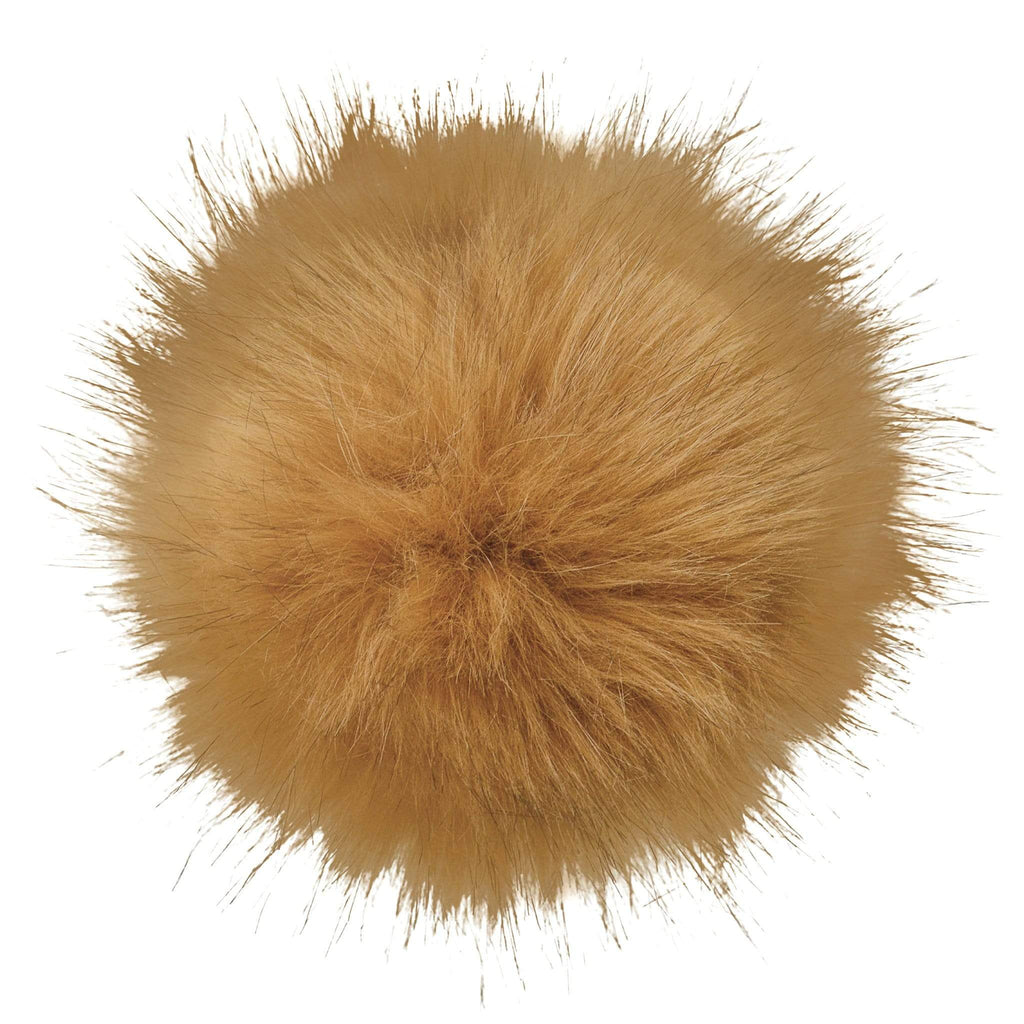 Faux-fur pompoms - tan
